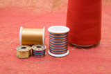 spools composition on fabric poster