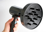 hair dryer with comb poster