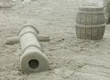 cannon & powder keg sand sculpture poster