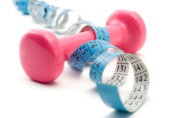 weights wrapped around a measurement tape