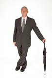 dapper businessman with umbrella 01 poster