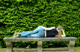 sexy woman lying on the bench poster