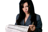 business woman holding a newspaper and pen poster