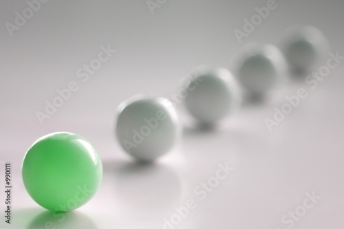one green ball