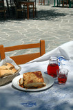 greek taverna meal with wine poster