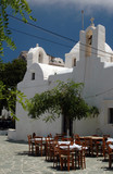 greek taverna and church and monastery poster