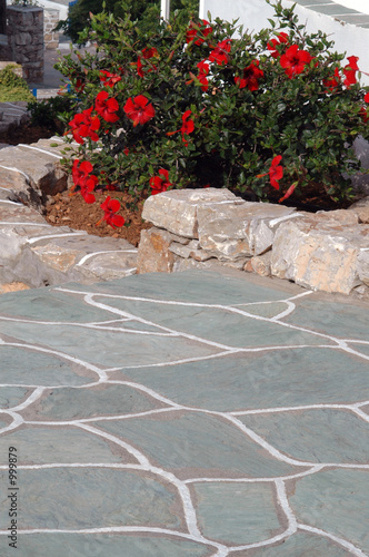 stone walkway with flowers
