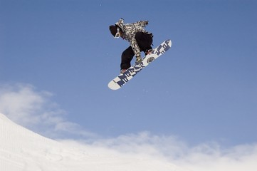 snowboarder jumping high in the air while performi