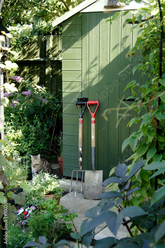 garden shed and gardening tools - 1002091
