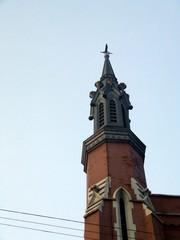 red brick spire