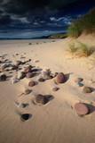 sunlit sandy beach with pebbles poster