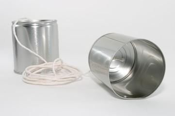 tin can telephones, close up