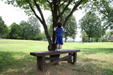 toddler boy and tree