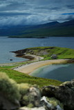 scottish loch and beach with out of focus wall poster