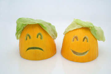 two melons - happy and sad