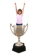 girl in trophy cup