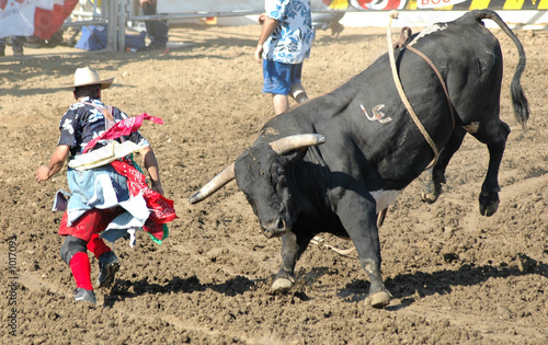 bull chasing rodeo clown - 1017093