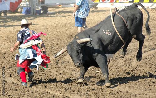 Fotobehang Stierenvechten bull chasing rodeo clown