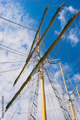 masts against blue sky