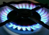 blue flames of gas-cooker poster