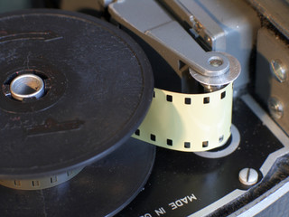 film in the mechanism of a movie camera
