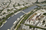 view from eiffel tower in paris, the seine river poster