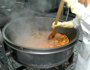 giant wok cooking