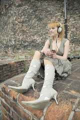 woman listening to music outdoor