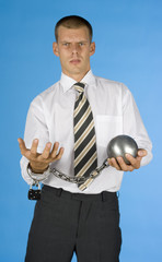 chained businessman