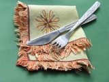 knife and fork on a serviette poster