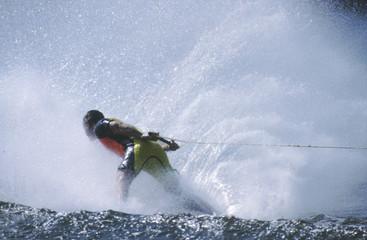 water skier in spray