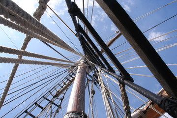 looking up sailing ship mast into the rigging - st