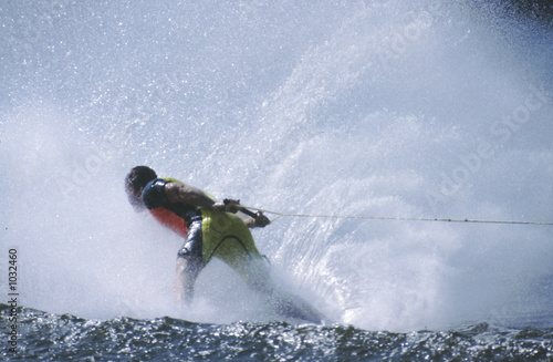 water skier in spray
