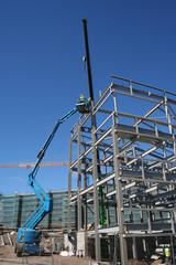 cherry picker and metal frame