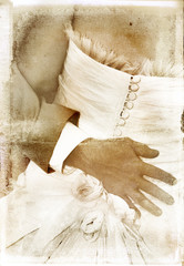 vintage image of bridal couple on textured background