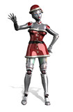 christmas robot waving - with clipping path poster