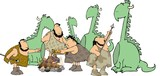 cave people and dinosaurs poster