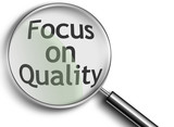 magnifying glass with focus on quality poster