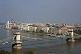 danube and hungarian parliament and part of chain bridge. poster