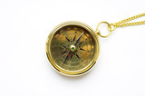 old style gold compass with chain poster