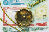 old style gold compass with chain on money poster