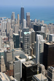 chicago aerial view of downtown poster