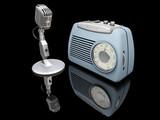 retro radio and microphone poster