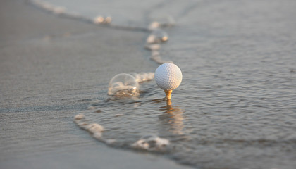 golf ball in the sea