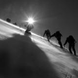climbers climbing the glacier poster