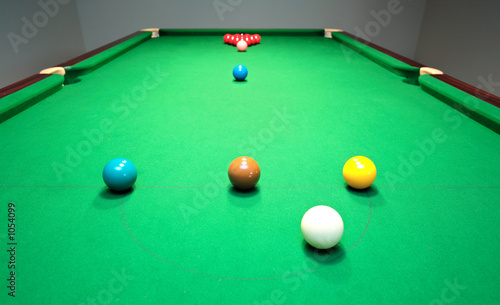 new snooker table with balls ready for break