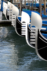 gondolas moored along the canal, venice