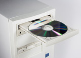 cd or dvd and computer poster