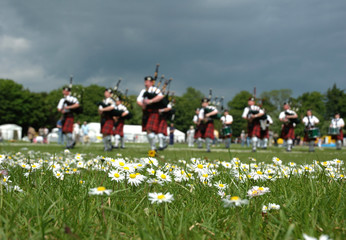 scottish pipe band marching on the grass - blur