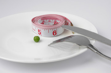 pea and measuring tape on a plate